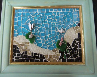 Handcrafted Stained Glass 3D Mosaic Picture in Frame