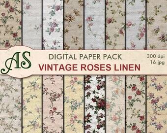 Digital Vintage Roses Linen Paper Pack, 16 printable Digital Scrapbooking papers, floral Digital Collage, clipart, Instant Download, set 325