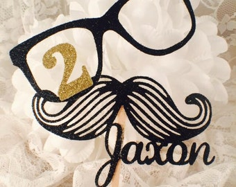 Mustache Cupcake Toppers - Baby Shower - It's A Boy - Boy Birthday Party - Little Man Party - Gender Reveal - Mustache Glasses - Custom