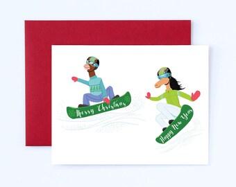 Snow Boarding card, Fun Christmas card