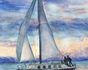 Slow Sail (Giclée Print of original watercolor, matted and framed)