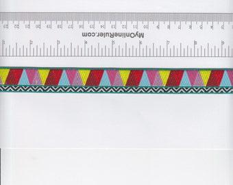 Renaissance Ribbons Amy Butler Mosaic Ribbon in Yellow and Pink - Half Yard