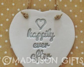 Happily Ever After Hanging Heart Ornament Wedding Engagement Couples Housewarming Gift