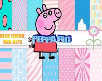 kit papeles digitales peppa ppig mas clipart!!!