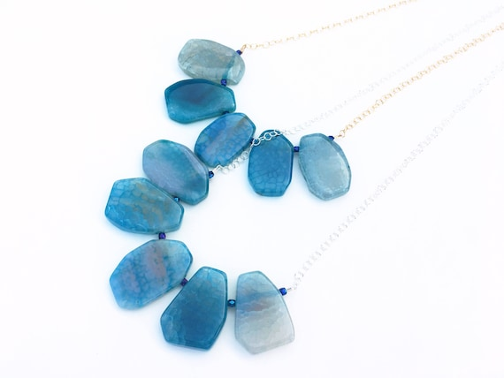 Blue Crackle Agate & Crystal Statement Necklace // Sterling Silver or 14k Gold Filled // Gifts for Her // Something Blue