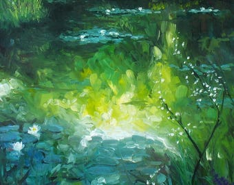 oil painting // landscape flower lillypond // artistic work of art // hand-painted impressionism monet art