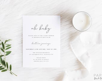 Good Oh Baby Invitation | Printed Invitation | Elegant Baby Shower | Simple Baby  Shower Invitation |