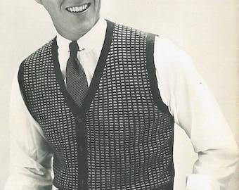 Vintage Men's Colorwork V-Neck Sweater Vest Knitting Pattern PDF 1954