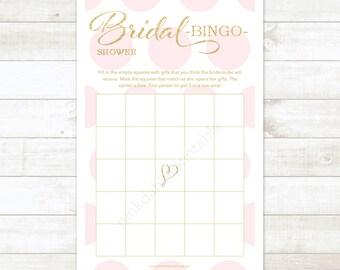 pink and gold bridal shower bingo printable game pink gold glitter polka dots wedding shower digital games - INSTANT DOWNLOAD