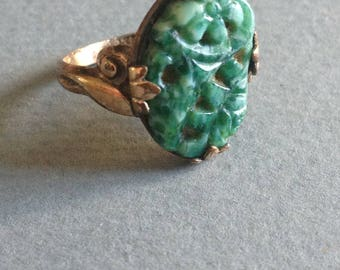 Green Peking Glass Ring Carved Flowers Gold Filled Size 4.5
