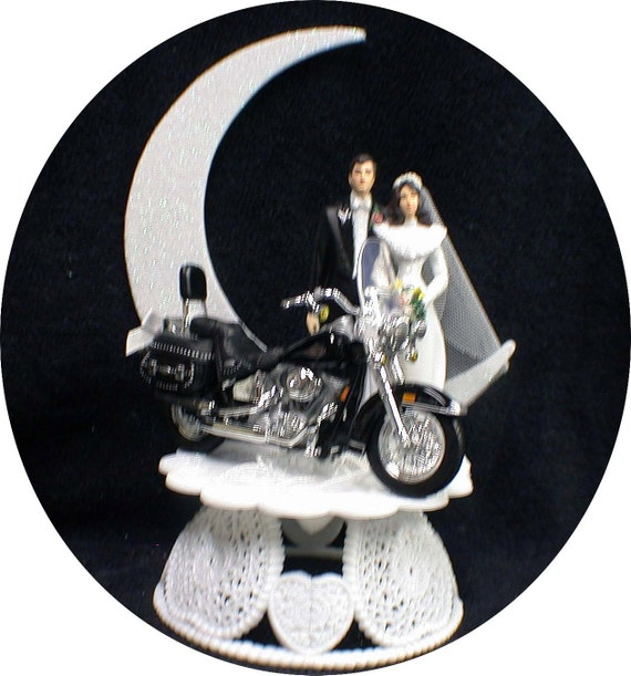 Wedding Cake Topper W Diecast Harley Davidson Motorcycle Sexy