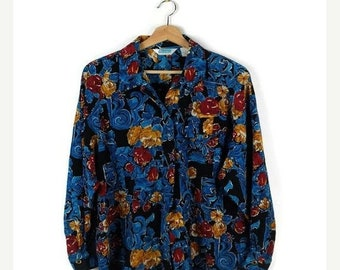 ON SALE Vintage Blue Floral Printed Slouchy  Blouse/Shirt from 1980's
