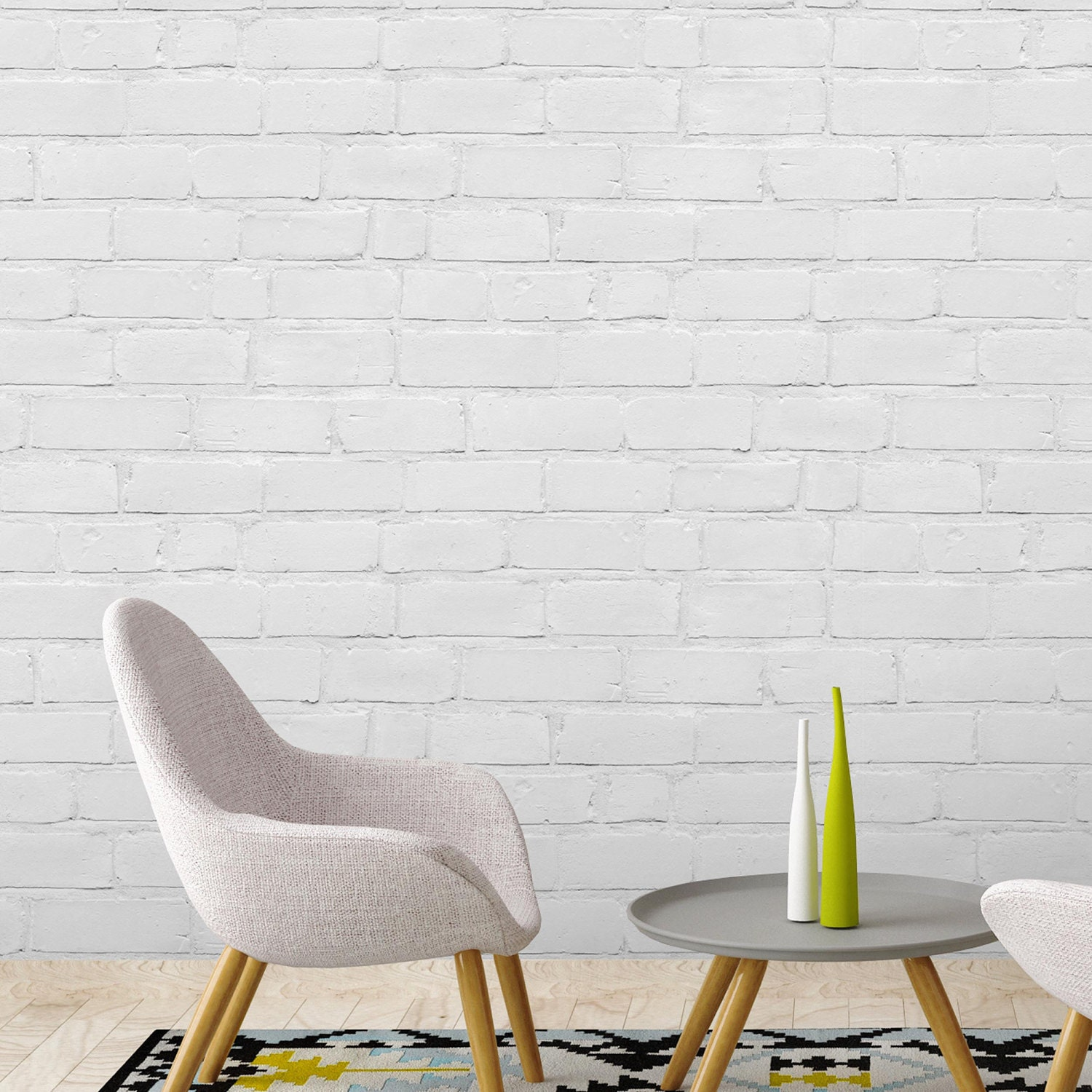 Painted White Brick, Brick effect wallpaper, paste the wall, 10meter roll,  white