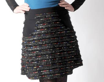Short black skirt with sequins, party skirt, womens sparkly skirt, Supple black skirt with pockets, Womens party clothing, MALAM, UK14