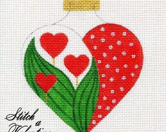 Valentine Needlepoint Ornament     H2  Valentine Tulip Heart