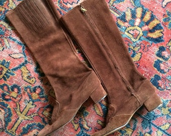 1960's Brown Suede Go Go Boots