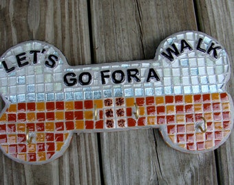 Mosaic Leash Holder Key Wall Decor Brown Blue White Words Let's Go For a Walk With Four Hooks