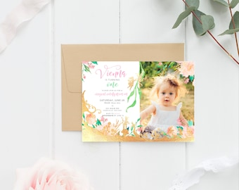 Fairy Birthday Invitation, PRINTABLE, Girl's Printable Personalised Birthday, Magical Enchanted Forest Garden Party Invite Floral Gold Pink
