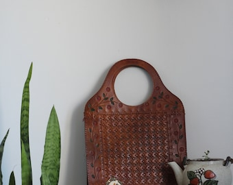 Vintage 70s Real Tooled Leather Handbag