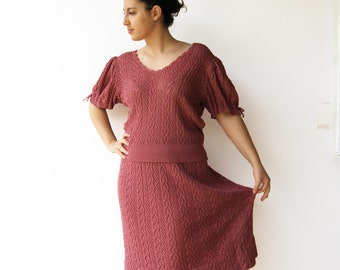 Vintage 1970s Knit Set / Pink Sweater Top and Skirt / Size L
