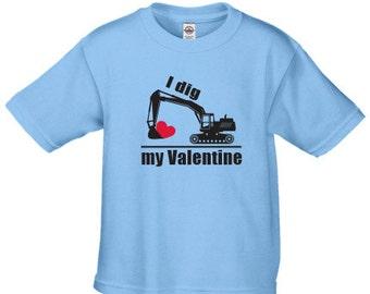 I dig my  Valentine digger t shirt for boys, Valentines day digger shirt