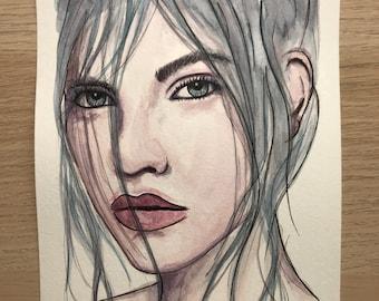 Model Original Watercolor Painting.