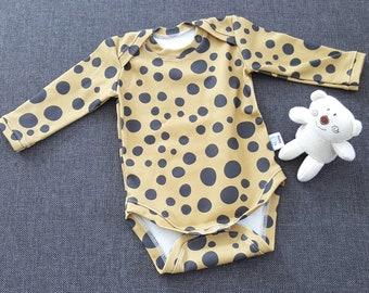 ORGANIC baby onesie in leopard dots mustard, baby bodysuit, 3-6 Month