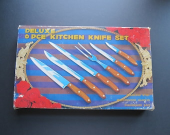 Vintage Kitchen Knives Set // 5 Stainless Steel Cooking Carving Knives In Original Box Mid Century Modern Serving Gift Set Retro Kitchenware