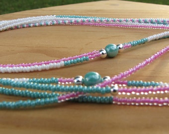 Cotton Candy - Triple Strand  (3) Waist Beads - With Sterling Silver and Resin Beads