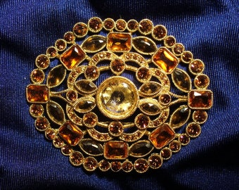 Vintage Rhinestone Gold Monet Brooch