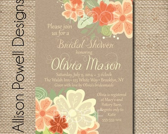 Kraft Paper and Flowers Bridal Shower Baby Shower Invitation -Kraft Paper, Wedding, Baby, Bridal - Print Your Own - Allison Powell Designs