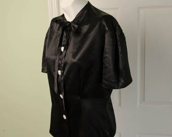 Vintage 1940's Woman's Black Short Sleeved Satin Blouse with Tie