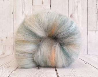 OOAK Spinning Fibre 100g, Hand Crafted Batt, Carded Felting Wool, Responsibly Sourced, Eco Friendly Wool, Natural White, Teal, Aqua