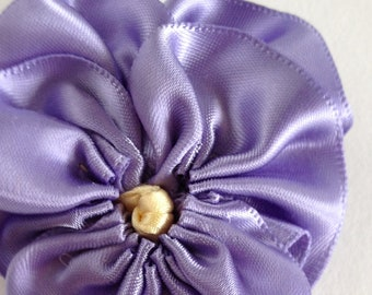 Silk Satin Pansy Brooch - Ribbon Flower Pin - Boutonniere
