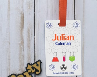 Personalized scientific id backpack tag, custom name tag, school name tag, custom backpack tag, personalized tag, custom science id tag