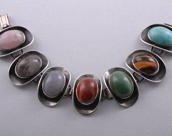 Silver Retro Bracelet With Semi Precious Stones (705m)