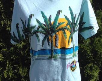 Vintage Palm Tree Beach Tee Size Medium