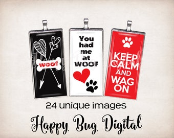 "All About Dogs Graphics Digital Collage Sheet - 1"" x 2"" Domino Tile Size for Pendants INSTANT DOWNLOAD"