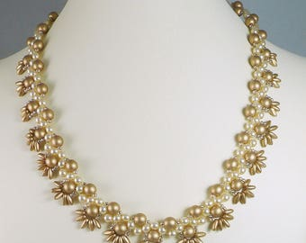 Woven Pearl Necklace and Earrings Set Gold and Cream with Fringe