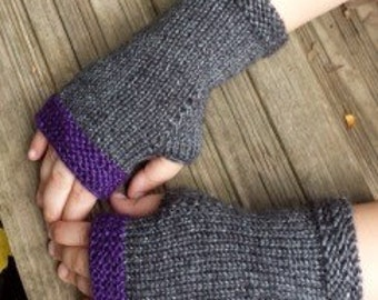 Knit Purple and Gray Fingerless Gloves - Arm Warmers - Wrist Warmers - Fingerless Mittens - ON SALE