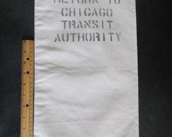 """CTA Canvas MONEY BAG Chicago Transit Authority approx 10"""" x 20"""" marvelous condition Collectible Displayable man cave Teens Tweens decor"""