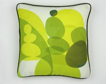 Topiary Garden hand printed linen cushion. Green White