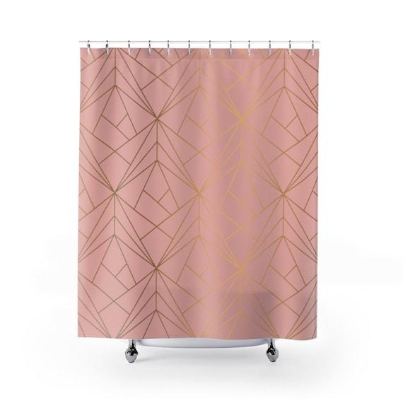Shower Curtain Geometric Pattern Coral Gold Bathroom Decor