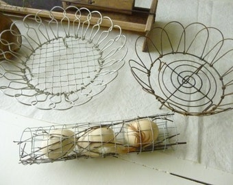 2 wire coasters, wire from France, antique, rare, antiques, shabby sneakers... CHARMING!