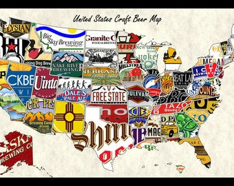 united states usa us craft beer brands wall map poster decor wall hanging and decoration for beer lovers restaurants bars and man caves