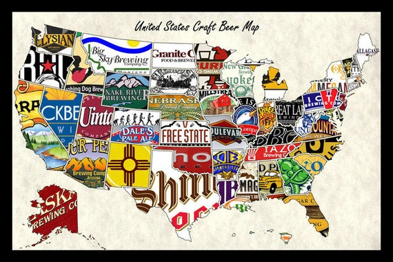 United States USA US Craft Beer Brands Wall Map Poster Decor