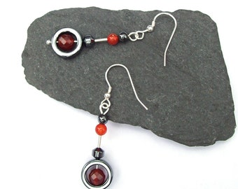 Carnelian with Hematite Earrings, Drop earrings, Gemstone Earrings, Swing earrings, Circle Earrings , Black , Orange , Sterling Silver 925