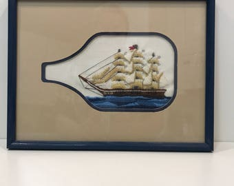 Vintage needlepoint ship in a bottle ***FREE SHIPPING***