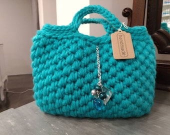 80% wool bag, entirely handmade, turquoise-colored