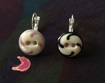 Vintage Chinese lavender and black glass ceramic stenciled button earrings